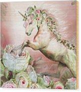 Unicorn And A Rose Wood Print