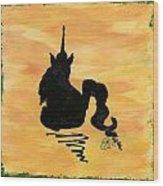 Unicorn At Rest Wood Print by Gail Schmiedlin