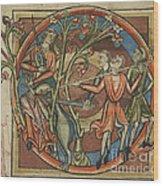 Unicorn Enticed By A Virgin Wood Print