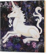 Unicorn Floral Wood Print by Genevieve Esson