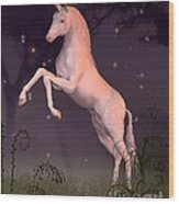 Unicorn In A Moonlit Forest Glade Wood Print
