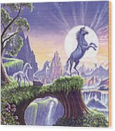 Unicorn Moon Wood Print