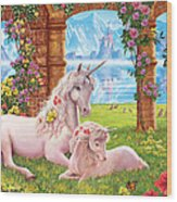 Unicorn Mother And Foal Wood Print