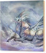 Unicorn Of Peace Wood Print