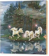 Unicorn Wizard Pool Wood Print