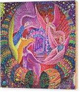 Unicornio Dorado Wood Print
