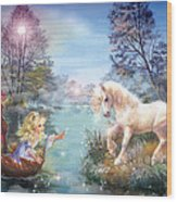 Unicorns Lake Wood Print