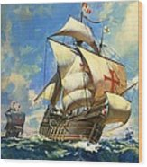 Unidentified Sailing Ships Wood Print