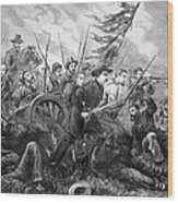 Union Charge At The Battle Of Gettysburg Wood Print