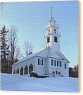 Union Meeting House In West Newbury Vermont Wood Print
