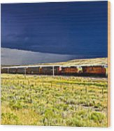 Union Pacific Racing A Thunder Storm Wood Print