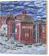 Union Pacific Train Car Painting Wood Print