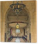Union Station Chandelier Wood Print