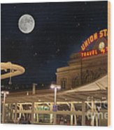 Union Station Denver Under A Full Moon Wood Print