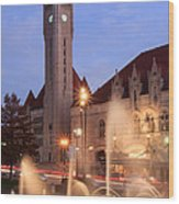 Union Station In Twilight Wood Print