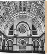 Union Station Lobby Black And White Wood Print