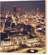 Union Station Night Wood Print