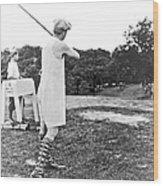 Union Suit Golfer Wood Print