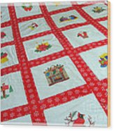 Unique Quilt With Christmas Season Images Wood Print