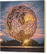 Unisphere At Sunset Wood Print