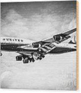 United Airlines Boeing 747 Airplane Black And White Wood Print