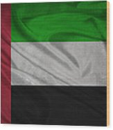United Arab Emirates Flag Waving On Canvas Wood Print