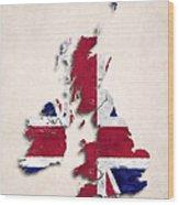 United Kingdom Map Art With Flag Design Wood Print