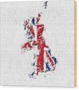 United Kingdom Painted Flag Map Wood Print