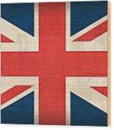United Kingdom Union Jack England Britain Flag Vintage Distressed Finish Wood Print