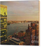 United Nations Building At Nightfall With Chrysler Building Reflection - Landmark Buildings  Wood Print