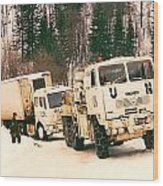 United Nations Convoy In Bosnia Wood Print