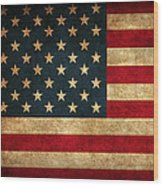United States American USA Flag Vintage Distressed Finish on Worn Canvas Wood Print