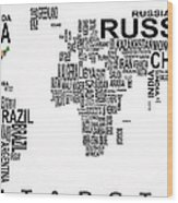 United States And The Rest Of The World In Text Map Wood Print by Daniel Hagerman