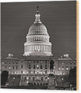 United States Capitol At Night Wood Print