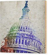 United States Capitol Dome Wood Print
