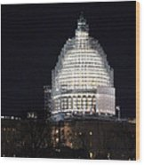 United States Capitol Dome Scaffolding At Night Wood Print