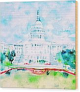 United States Capitol - Watercolor Portrait Wood Print