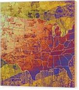 United States Flag Map Vintage 2 Wood Print