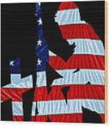 A Time To Remember United States Flag With Kneeling Soldier Silhouette Wood Print