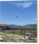 United States Flag Yosemite Mountain Wood Print