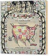 United States Map 1876 Wood Print