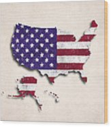 United States Map Art With Flag Design Wood Print