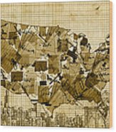 United States Map Collage 4 Wood Print