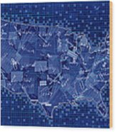 United States Map Collage 7 Wood Print