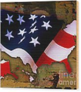 United States Map  Wood Print by Marvin Blaine