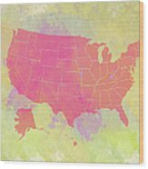 United States Map - Red And Watercolor Wood Print