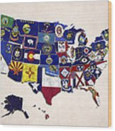 United States Map With Fifty States Wood Print