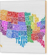 United States Typography Text Map Wood Print