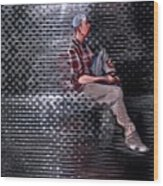 Universe Man Ties His Shoes Wood Print