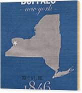 University At Buffalo New York Bulls College Town State Map Poster Series No 022 Wood Print